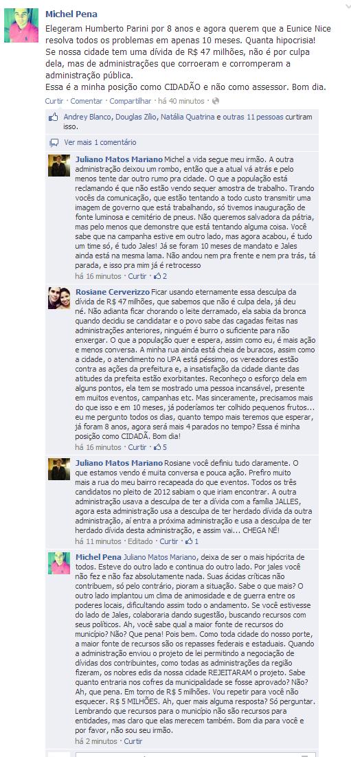 (2) Michel Pena - Elegeram Humberto Parini por 8 anos e agora querem...