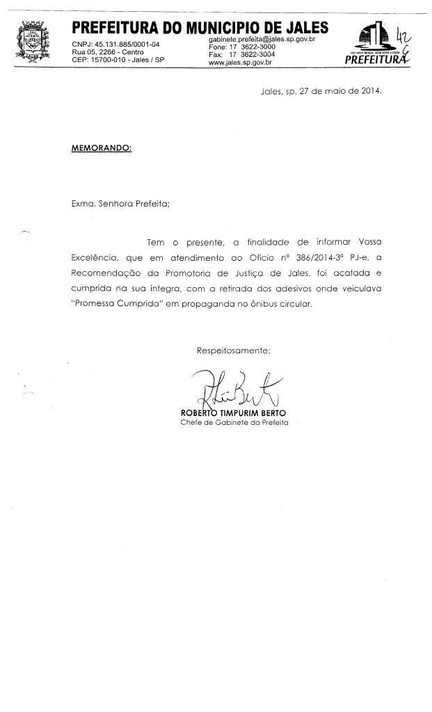 OFICIO PREFEITA CUMPRINDO A DETERMINAÇÃO