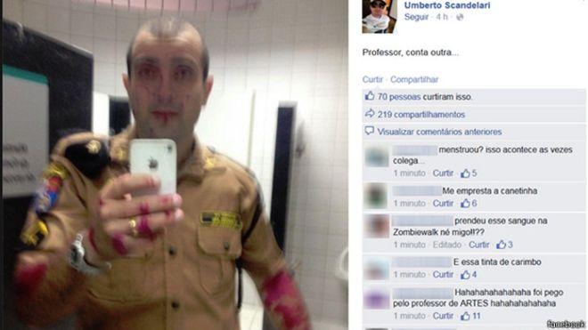 policial ensanguentado